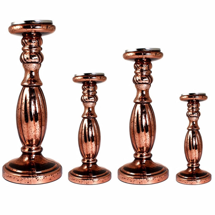 HomeRoots Vintage Style 4 Piece Glass Candle Holder, Copper