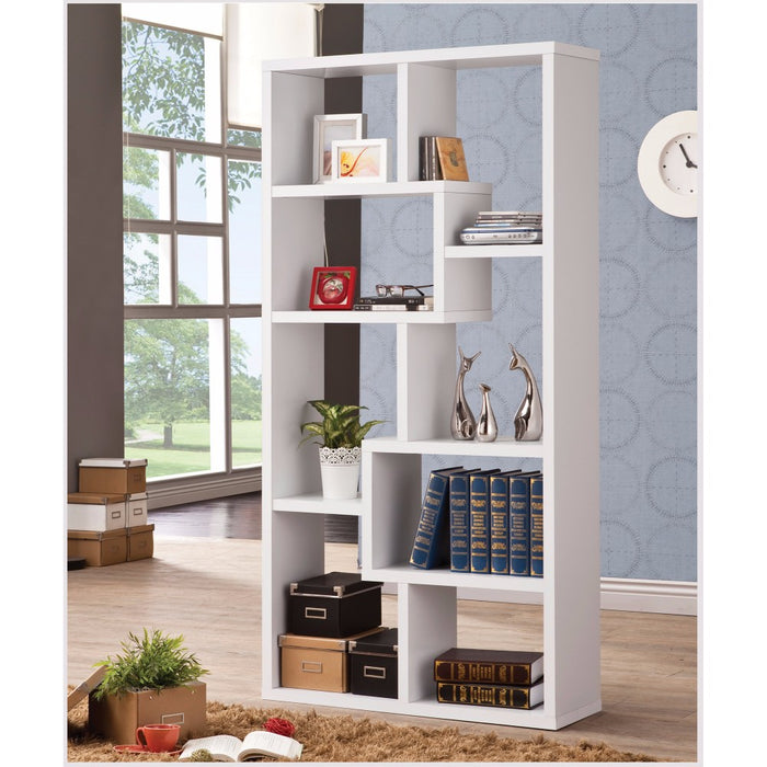 HomeRoots Office Mesmerizing Multiple Cubed Rectangular Bookcase, White