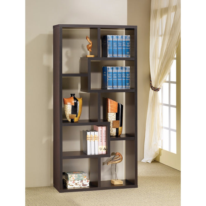 HomeRoots Office Contemporary Asymmetrical Cube Bookcase, Brown