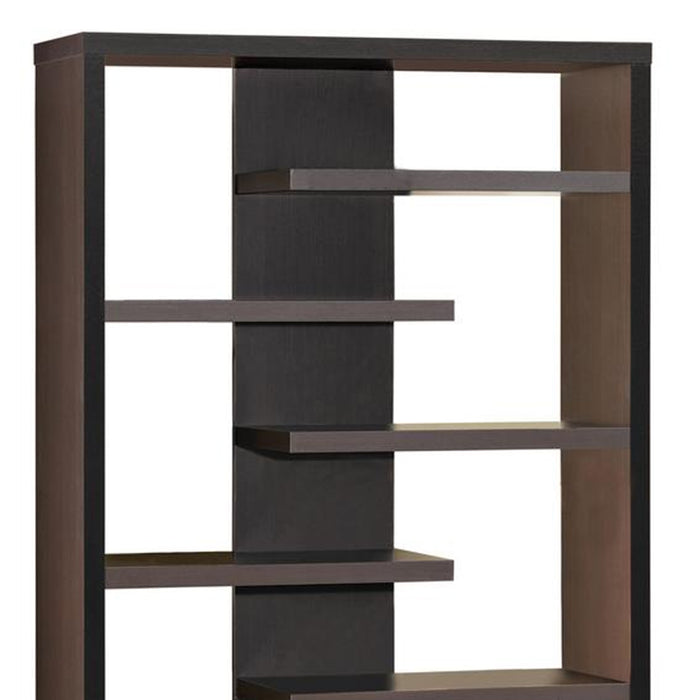HomeRoots Office Expressive Wooden Bookcase with Center Back Panel, Brown