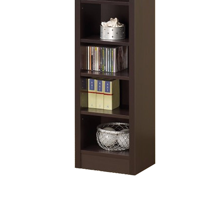 HomeRoots Office Glimmering Brown Narrow Wooden Bookcase