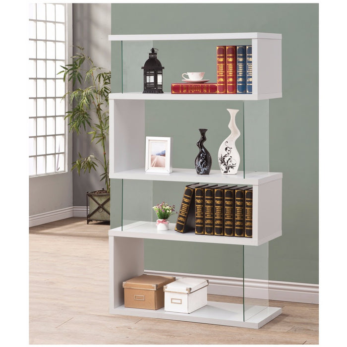HomeRoots Office Fantastic Glossy White Wooden Bookcase
