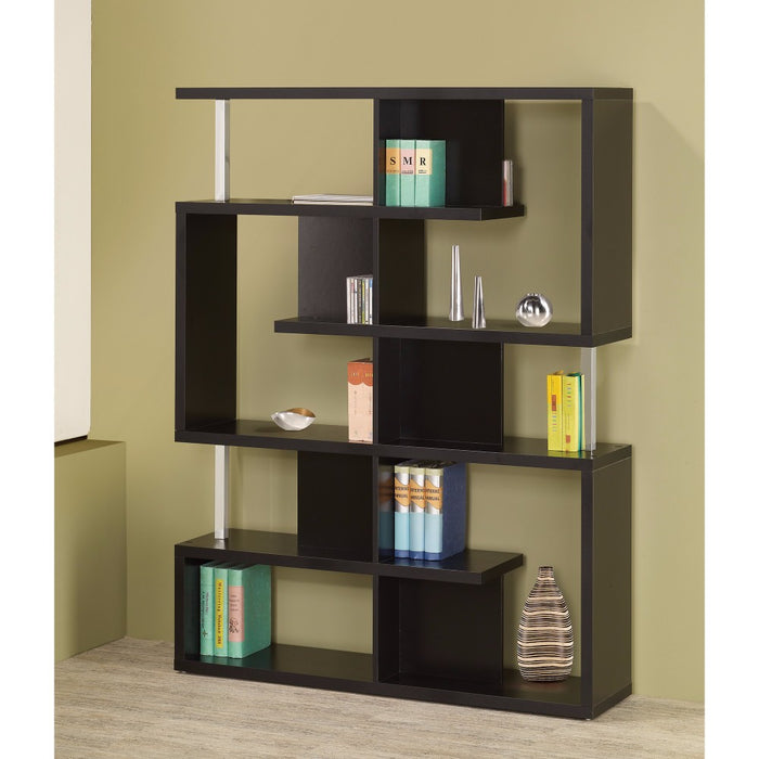 HomeRoots Office Phenomenal Black Spacious Wooden Bookcase