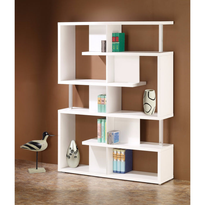 HomeRoots Office Splendid white Bookcase With Chrome Support Beams