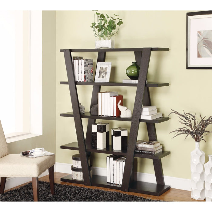 HomeRoots Office Exceptional  Bookcase with Inverted Supports and Open Shelves, Brown