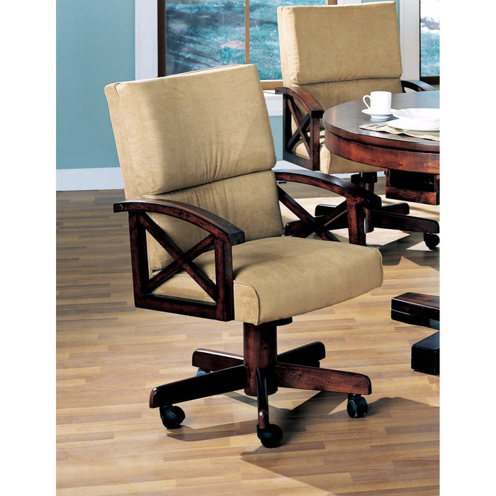 HomeRoots Office Upholstered Arm Game Chair , Brown