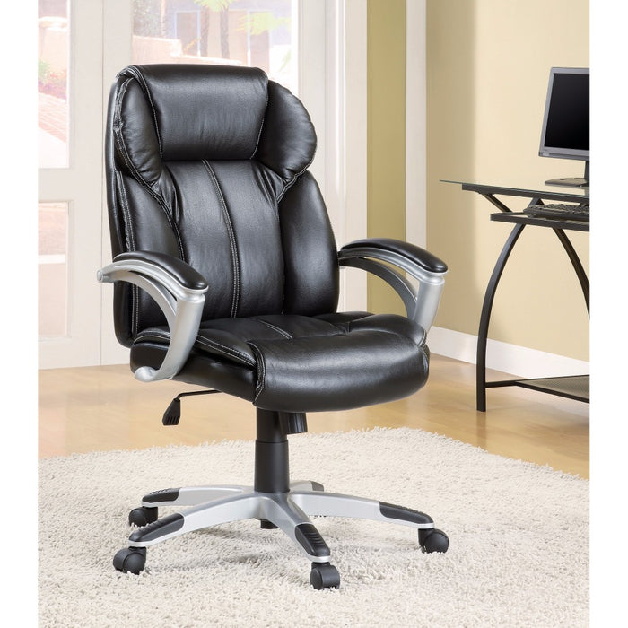 HomeRoots Office Executive High-Back Leather Chair, Black