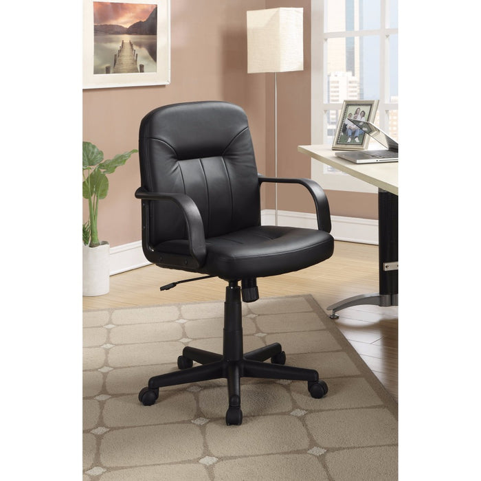 HomeRoots Office Medium Back Office Leather Chair, Black