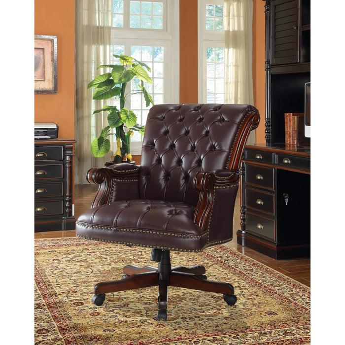 HomeRoots Office Leather, Traditional Executive Home Office Chair, Dark Brown