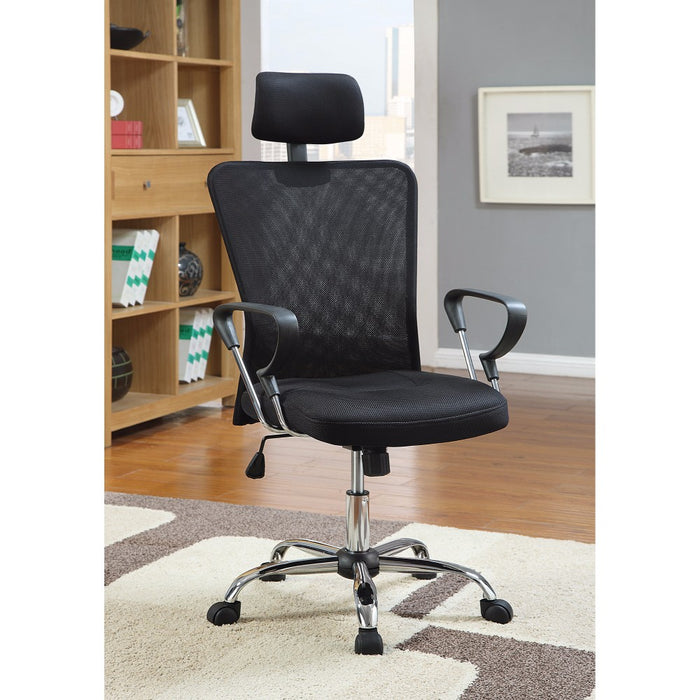 HomeRoots Office Designer Executive Mesh Chair with Adjustable Headrest, Black