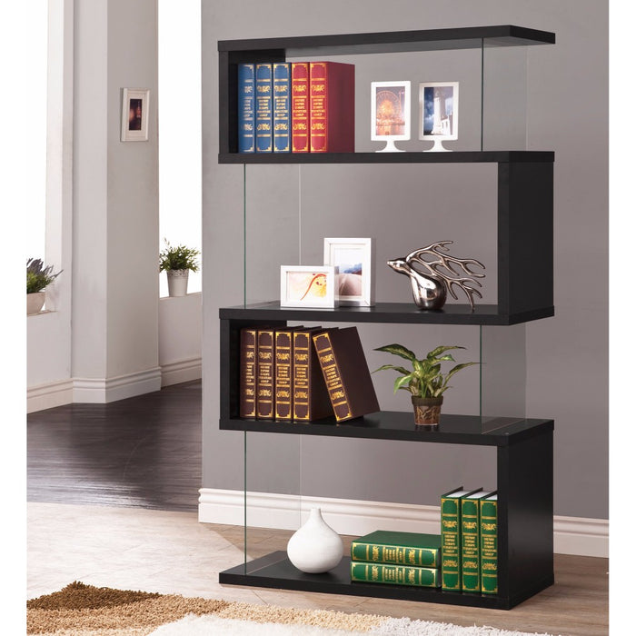 HomeRoots Office Asymmetrical Snaking Wooden Bookcase, Black