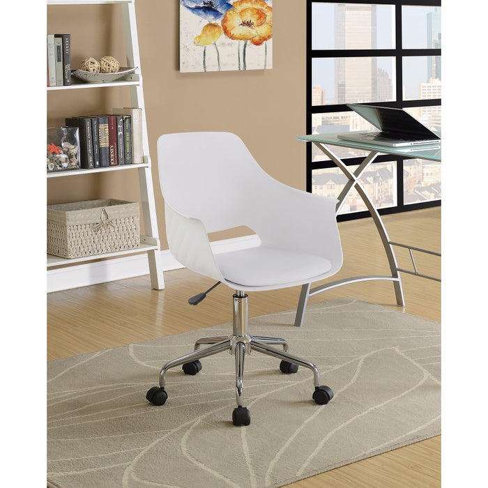 HomeRoots Office Mid- Century Scooped Home Office Chair, White