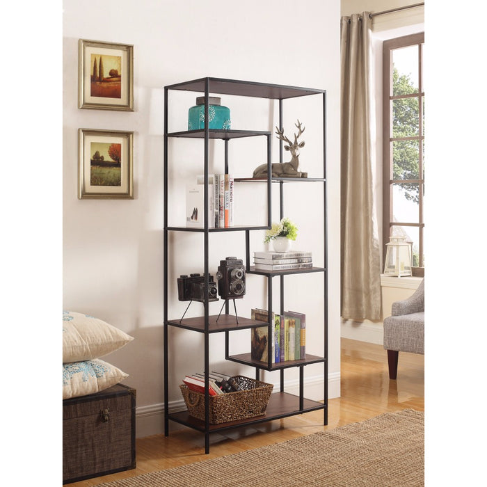 HomeRoots Office Metal Framed Bookcase With Open Shelves, Black And Brown