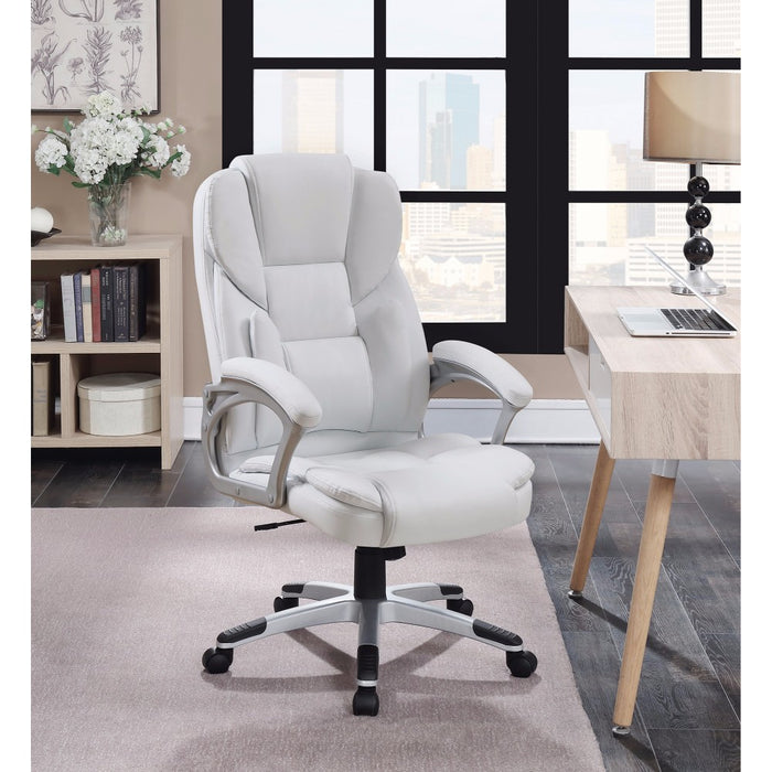 HomeRoots Office Leather, Contemporary Executive High-Back Chair, White