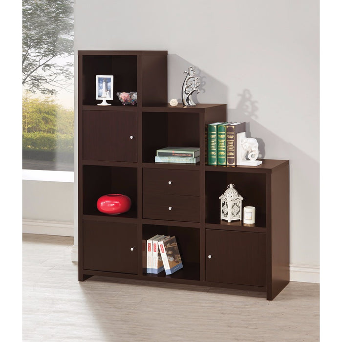 HomeRoots Office Contemporary Bookcase with Stair-like Design, brown