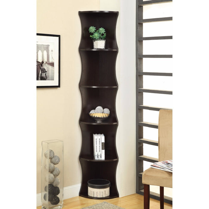 HomeRoots Office Corner Shelf Wooden Bookcase, Brown