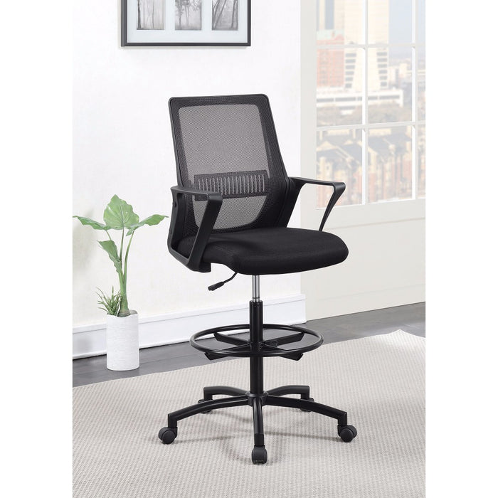HomeRoots Office Fine Mesh Office Chair with Foot Rest, Black