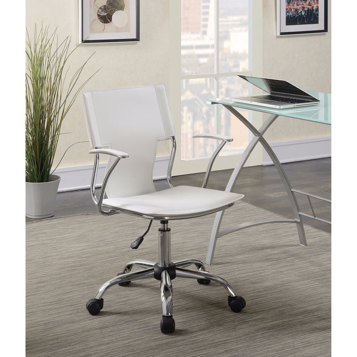 HomeRoots Office Contemporary Styled Mid-back Office Chair, White/Chrome