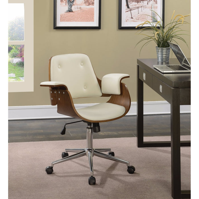 HomeRoots Office Mid-Century Mid-Back Home Office Chair, Cream/Walnut
