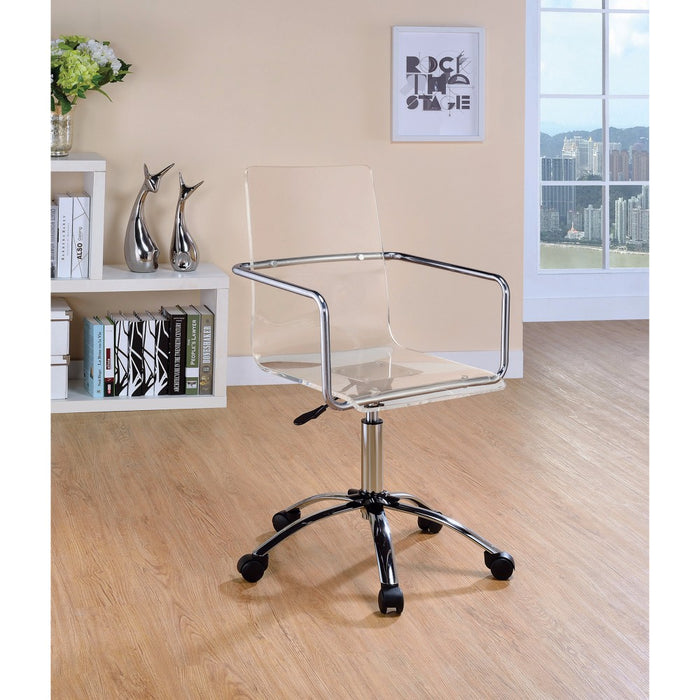 HomeRoots Office Modern Design Transparent Acrylic Adjustable Office Chair, Clear