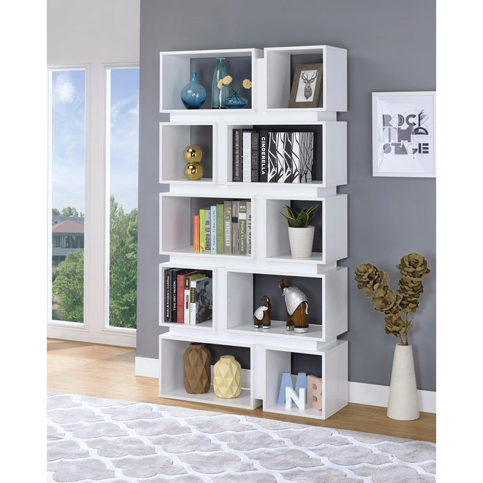 HomeRoots Office Classic Geometrically Designed Wooden Bookcase, White
