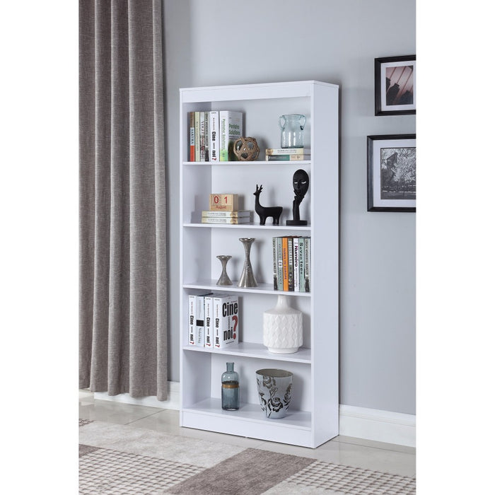 HomeRoots Office Classic Wooden Bookcase With 5 Shelves, White