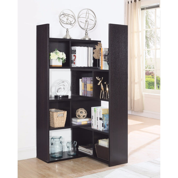HomeRoots Office Modern Style Corner Bookcase With Multiple Shelves, Brown