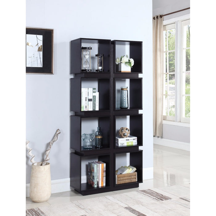 HomeRoots Office Contemporary Geometrically Designed Bookcase, Brown
