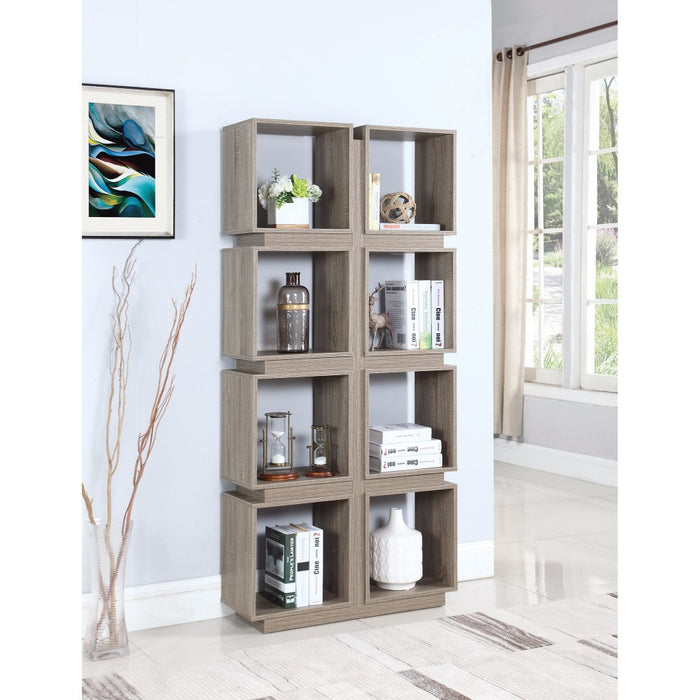 HomeRoots Office Geometrically Designed Bookcase With 8 Shelves, Brown