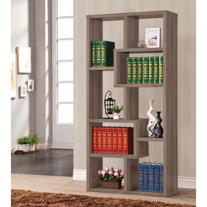 HomeRoots Office Multiple Cubed Rectangular Bookcase, Gray
