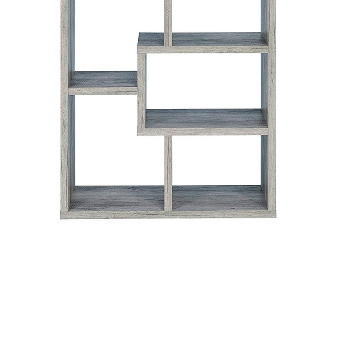 HomeRoots Office Modish Wooden Bookcase With Multiple Shelves, Gray