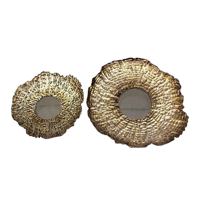 HomeRoots Set Of Two Metal And Mirror Wall Decor, Gold