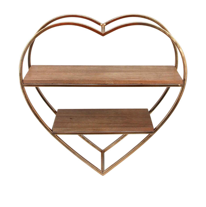 HomeRoots Office Heart Shaped Wood And Metal Wall Shelf, Gold And Brown