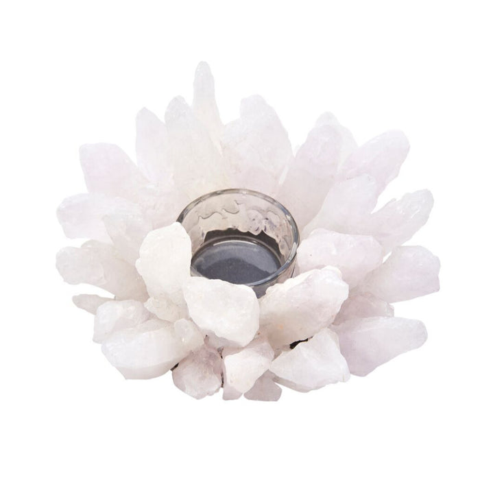 HomeRoots Starburst Style White Agate & Glass Votive Candle Holder