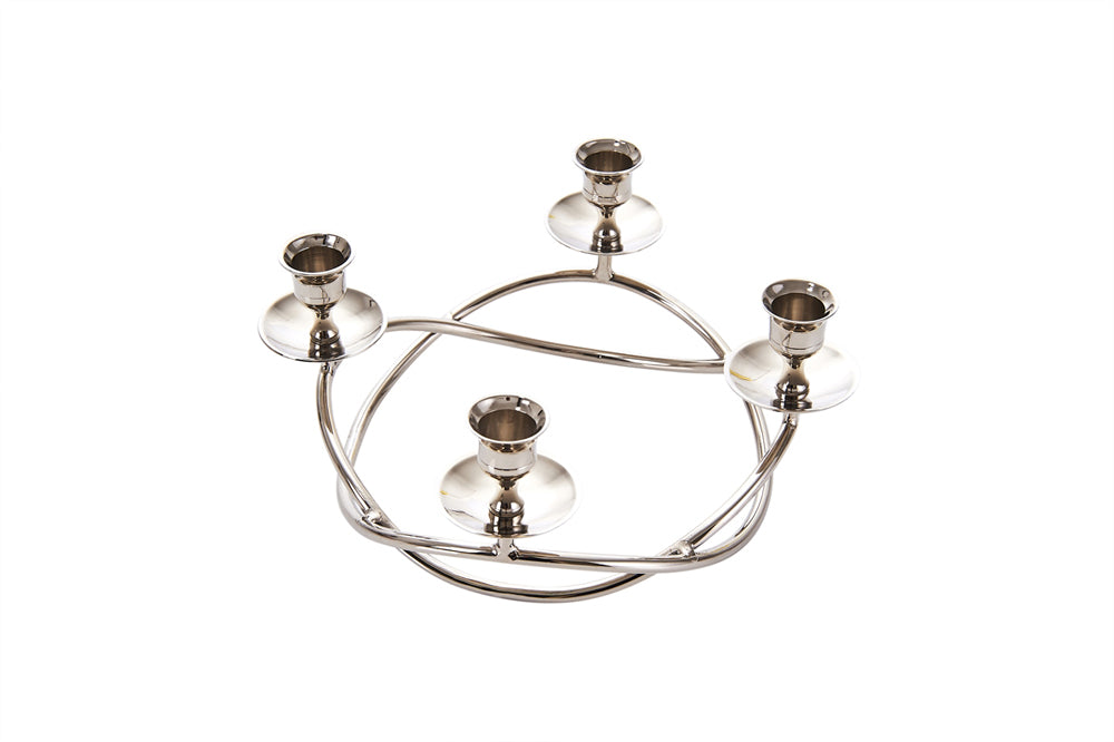HomeRoots Beautifully Designed  Decorative Metal Candle Holder, Silver