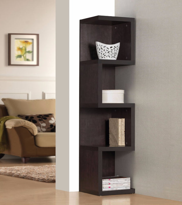 "HomeRoots Office Wooden Bookcase - Large ""S"" Shelf, Espresso"