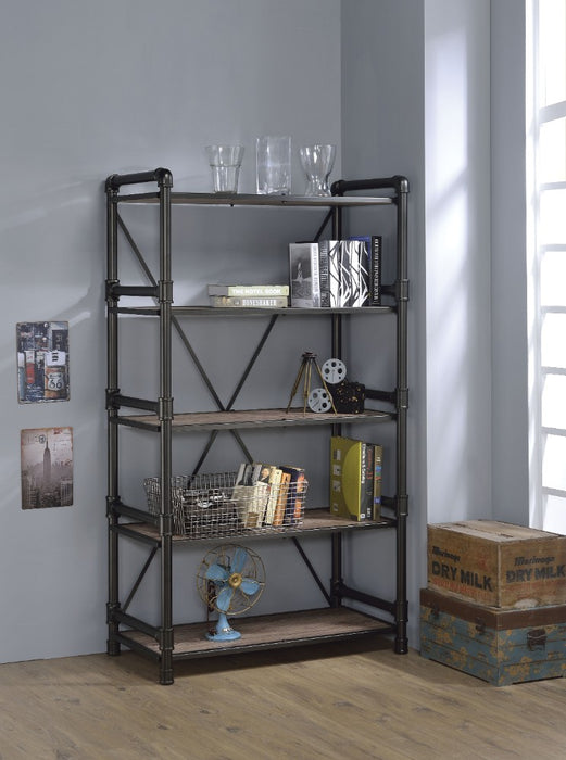 HomeRoots Office Industrial Looking Bookshelf, Rustic Oak & Black