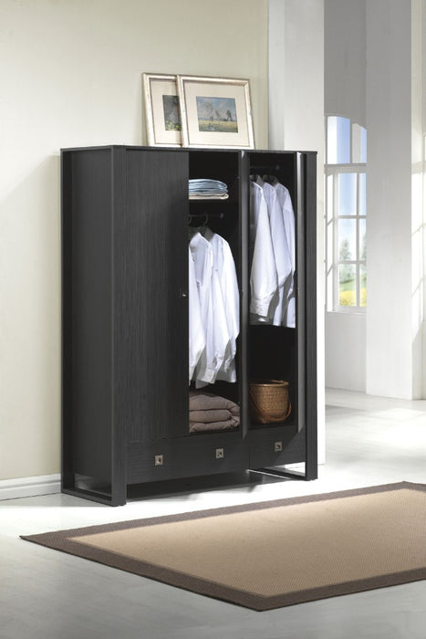 HomeRoots Office Wooden Wardrobe With 2 Drawers, Espresso Brown