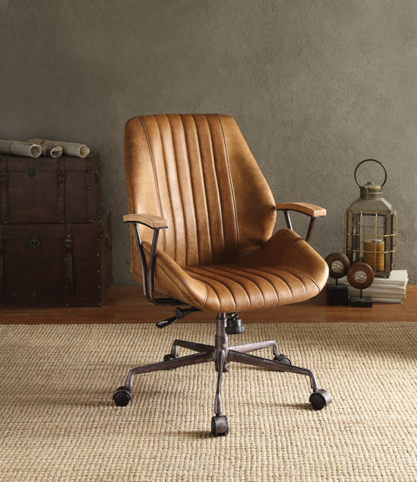 HomeRoots Office Metal & Leather Executive Office Chair, Coffee Brown