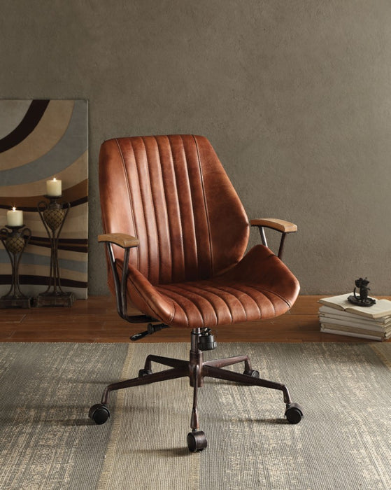 HomeRoots Office Metal & Leather Executive Office Chair, Cocoa Brown
