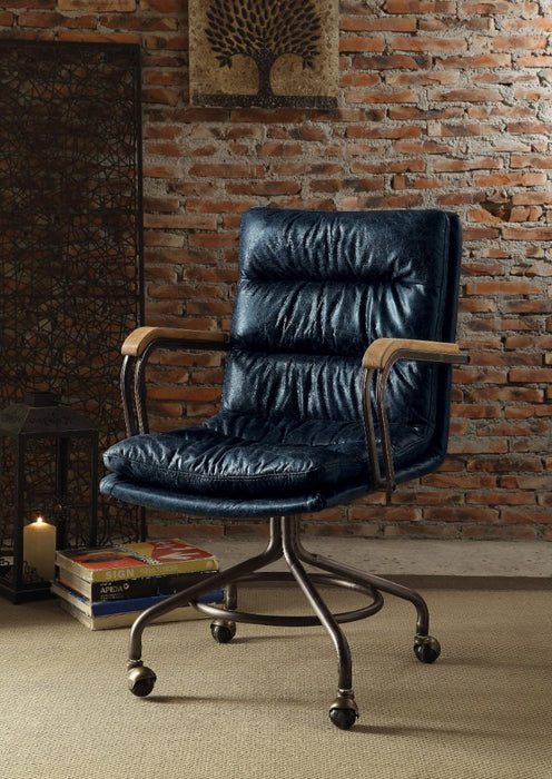 HomeRoots Office Metal & Leather Executive Office Chair, Vintage Blue