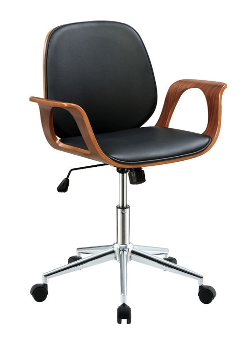 HomeRoots Office Metal & Wooden Office Arm Chair, Black & Walnut Brown