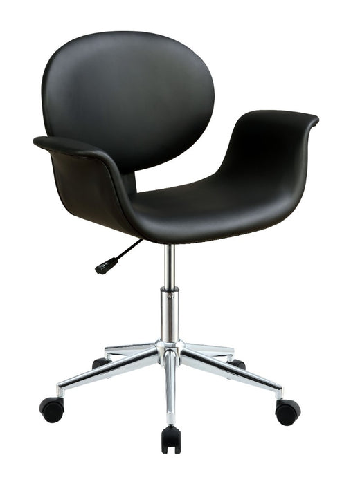 HomeRoots Office Metal & Wooden Office Arm Chair, Black