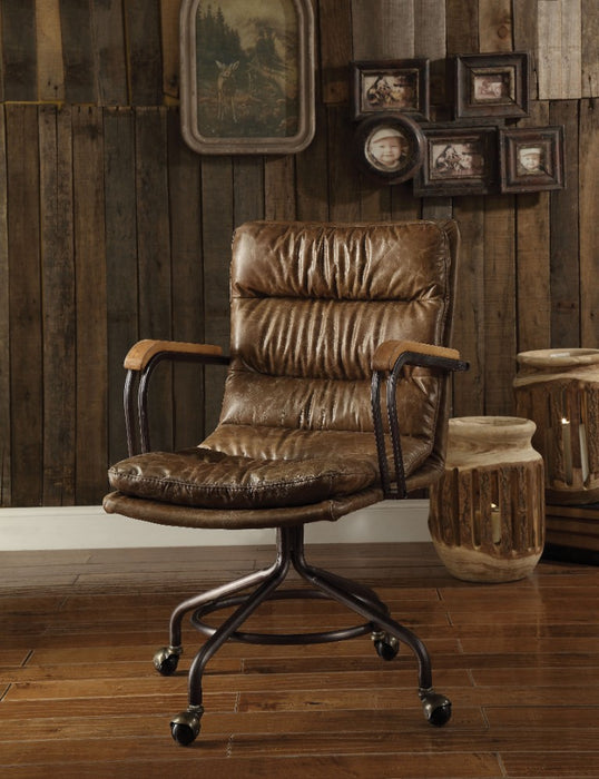 HomeRoots Office Metal & Leather Executive Office Chair, Vintage Whiskey Brown