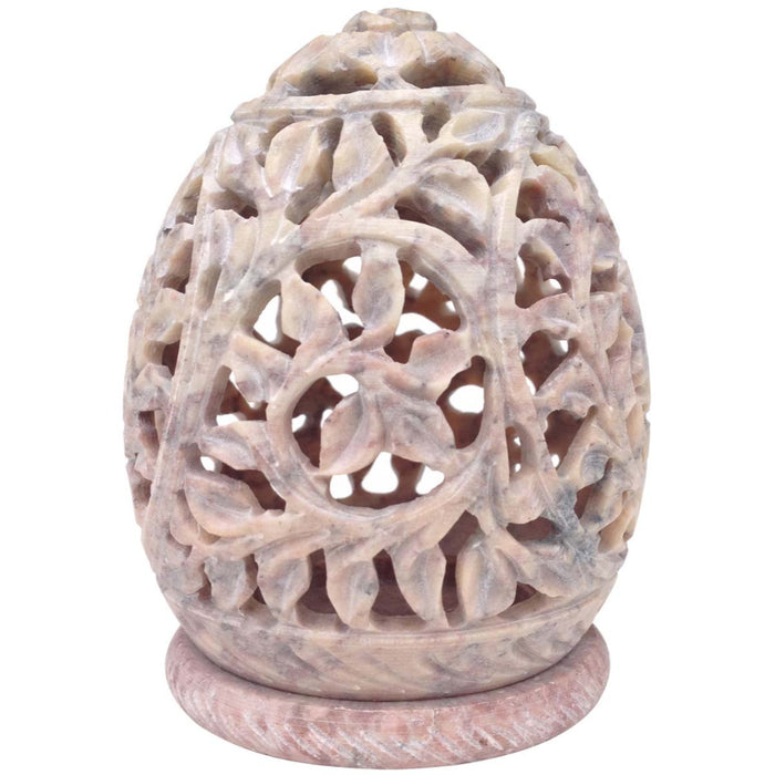 HomeRoots Stylish Soapstone Candle / Tea-Light Holder With Openwork Carvings, White