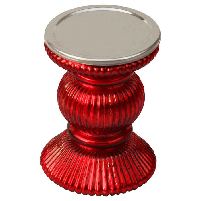 HomeRoots Handmade Contemporary Red Pillar Candle Holder In Ribbed Glass