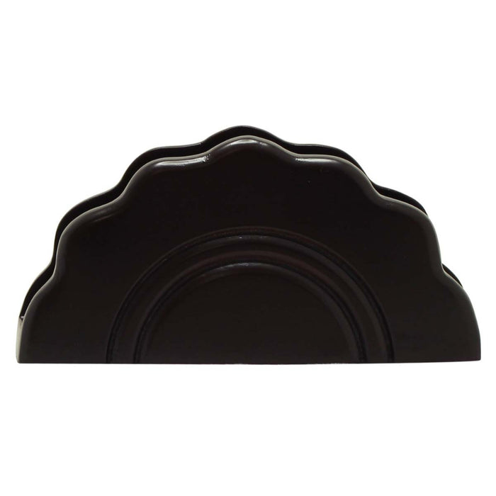HomeRoots Office Handmade Black Wood Napkin Holder Or Table Organizer with Curvy Design