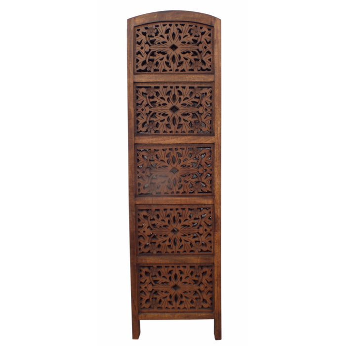 HomeRoots Antique Brown 4 Panel Handcrafted Wood Room Divider