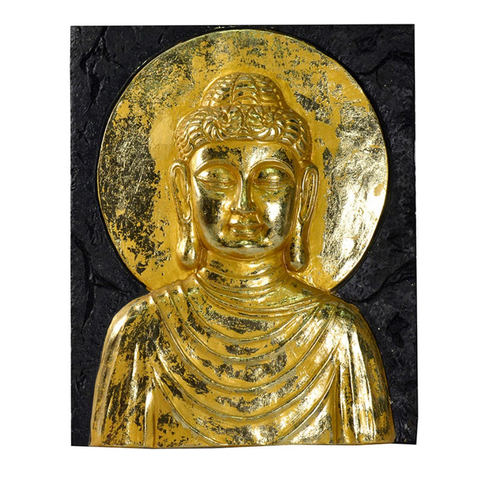 HomeRoots Beautiful Resin Buddha Wall Decor, Gold