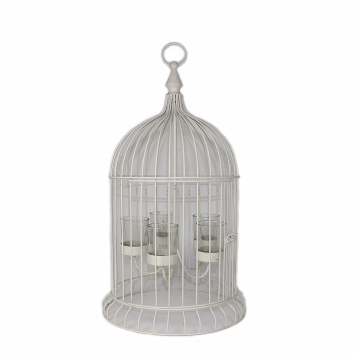 HomeRoots Metal Bird Cage Candle Holder, Off White